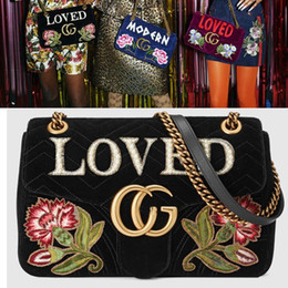 Wholesale Christmas Closures - Marmont Loved Women Crossbody Shoulder Bags Embroidered Velvet Small Messenger Bags Luxury Brand Flap Closure Chain Handbags Floral Wallets