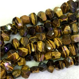 "Wholesale Loose Tiger Eye Beads - Natural Genuine Yellow Tiger Eye Hand Cut Faceted Nugget Free Form Loose Big Beads 15"" 04329"