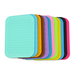 Wholesale table dishes - Table Mat Colorful Rectangle Thicken Silicone Tableware Dish Pan Drying Heat Insulation Cushion Non Slip Pad Multi Color 2 57lm F R