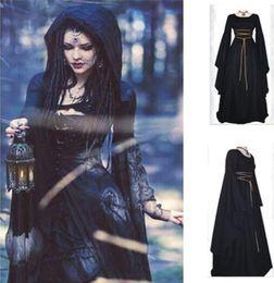 Wholesale Medieval Renaissance Gowns - Women Medieval Dress Renaissance Vintage Style Gothic Dress Floor Length Women Cosplay Dresses Without Belt Medieval Dress Gown Retro Mediev