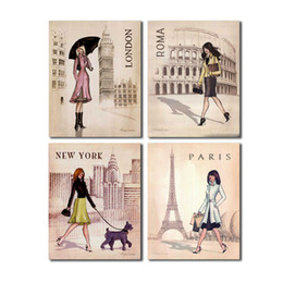 Wholesale canvas wall art new york - 4 PCS Paris London Roma and New York Set Wall Art Picture Digital Art Print Canvas Picture for Living Room Wholesale
