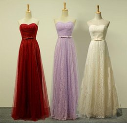 Wholesale Evening Dress Cheaper - Cheaper In Stock Real Picture Sweetheart Bridesmaid Dress A-Line Evening Prom Party Dresses Lace With Sashes Junior Bridesmaid Dresses.