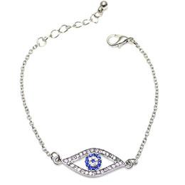 Wholesale Turkish Evil Eye Gold - Crystal Evil Eyes Charm Bracelets Gold Silver Rhinestone Fashion Women Bracelets Turkish Evil Eye Jewelry Zinc Alloy