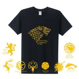 Wholesale Ice Fire T Shirt - Game of Thrones T Shirts Men A Song of Ice and Fire Nine Family House Stark Lannister T Shirt Short Sleeve Cotton T-shirt OT-270