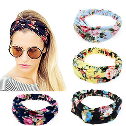 Wholesale Blue Flower Hair - 2017 New Wide Women Turban Headband Multicolored Flower Cross Women Elastic Headbands Flower Headband Women Hair Accessories