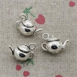 Wholesale Wholesale Teapots Accessories - 32pcs Charms Jewelry 3D teapot 18*13*10mm pendant Zinc Alloy Ancient Sliver DIY Craft Necklace Bracelet Accessories