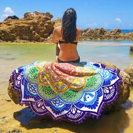 Wholesale Hot Bikini Cover Ups - Hot Women Chic Tassel Indian Mandala Tapestry Lotus Printed Bohemian Beach Towel Yoga Mat Sunblock Round Bikini Cover-Up Blanket YogaBlanket