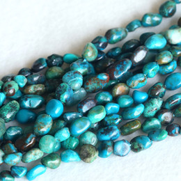 "Wholesale High Quality Discount Jewelry - Wholesale- Discount High Quality Genuine Blue Green Chrysocolla Nugget Loose Beads Free Form 5-6 Fit Jewelry Necklace Bracelets 15"" 04140"