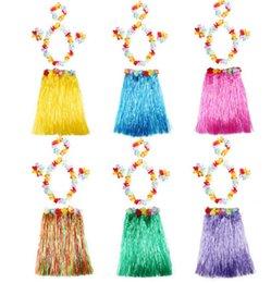 Wholesale Tutu Head - Hula skirt 5 PCS  1SET Dance Dancing Hula Skirt Suit Hawaii Fashion Show Costuhow Hula Grass Skirts Garlands Bracelet Head KKA2206