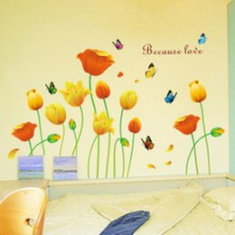 Wholesale Wall Art For Boys - Decoration Wall Sticker Bedroom Romantic Flower Kids Boy Children Wallpaper Home Art Room Decor Hallway Mural PVC Decorative Girl