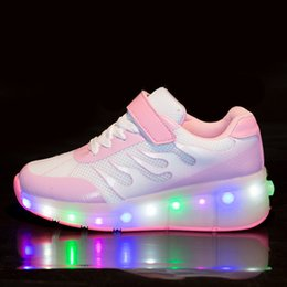 Wholesale Single Roller Shoes - Jiagelin Boys Girls Glint Light Up Single Wheel Double Wheels Kids LED Roller Shoes Skates Cotton Fabric Lining Comfortable and Breathable.C