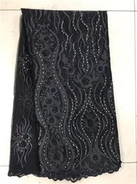 Wholesale Net Swiss Voile Lace - Black High Quality 2017 African New Design Stones Beads Net Tulle Lace Purple Nigeria Beaded Embroidery Style Guipure Swiss Voile Lace