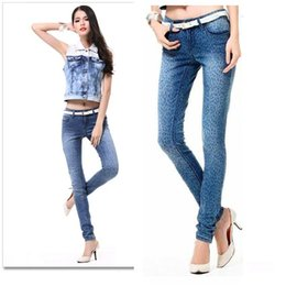 Wholesale Sexy Jeans Leopard - Wholesale- Promotion Gril Jeans Sexy Zipped Leopard Leggings Overalls White Washing Grinding Women Slim Pencil Pants Free ship
