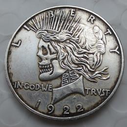 Visage sculpté antique en Ligne-États-Unis tête à tête deux face 1921/1922 paix Dollar crâne zombie squelette sculpté à la main pièces de monnaie