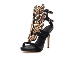 Wholesale Sexy Red Sandals Low Heel - 2017 summer top quality original luxury brand new arrival Elegant Striped Hollow Flute Gold Leaf Sexy Women High Heel Sandals