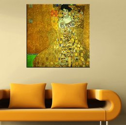Wholesale Gustav Klimt Portrait - Framed Adele Bloch Bauer I by Gustav Klimt Handpainted Abstract Portrait Art Oil Painting,On High Quality Canvas Wall Art Decor Multi size