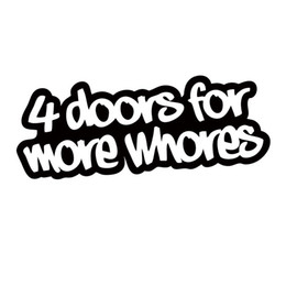 Wholesale Truck Decor Decals - For 4 Doors For More Whores Sticker Funny Car Styling Drift Jdm Truck Car Window Bumper Vinyl Decal Accessories Decor