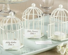 Wholesale Metal Bird Cages - European classical birdcage shape place card holder Black and white metal bird cage candlestick table card holder