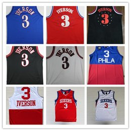 Wholesale Iverson Jerseys - High Quality Free Shipping new Retro #3 Allen Iverson Sport Jersey Throwback Jerseys Embroidery Logo Mesh Black White Shirt Georgetown Hoyas