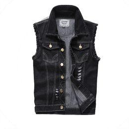 Wholesale Wholesale Men S Waistcoats - Wholesale- Mens vest fashion cotton cowboy sleeveless denim waistcoat slim short style chaleco hombre size S-5XL