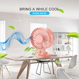Wholesale Usb Mini Air Conditioner - Summer Office USB Mini Desk Fan Portable Fan Leque Air Conditioner DC 5V 2 Blades Cooler Adjustable Speed Fan