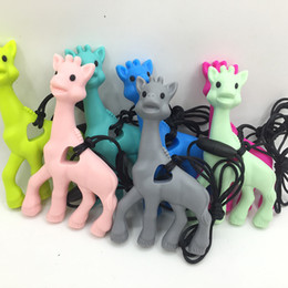 Wholesale Green Beads Necklace Wholesale - Silicone Giraffe Teethers Soft Baby Teething Toy BPA Free Deer Pendant Necklace Baby Food Grade Necklace Teething Hanging Beads Toy