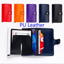 Wholesale Organizer Vintage - wholesale Genuine Leather Wallet Card Holder Antitheft Men Wallets Slim RFID Credit Card Case 6 colors freeshipping
