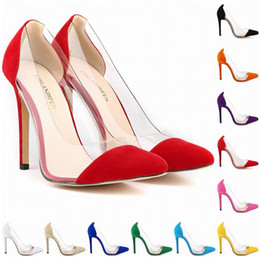 Wholesale Corset Big Wedding Dress - New Style Special Offer Femininos Women Shoes Patchwork High Heels Pointed Corset Style Work Pumps Court Big Size 4-11 D0007