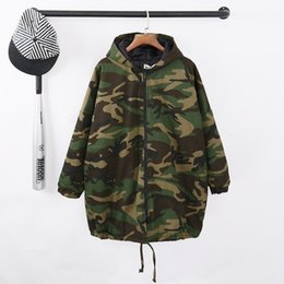 Wholesale Korean Casual Outfits - Autumn winter new tide long jacket female army green cotton coat Korean style fashion loose casual windbreaker outfit female stage costumes