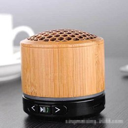 Wholesale Bamboo Mp3 - creative bamboo wood bluetooth mini speakers, new designer portable wireless speaker for smart phones, tablet, TF, USB dirver, FM, AUX