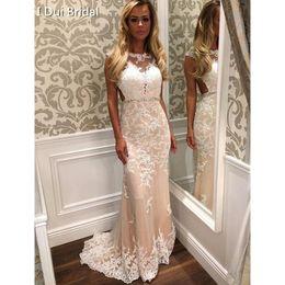Wholesale Scoop Neck Mermaid Evening Dress - Sheath Column Ivory Tulle Appliques Lace Cap Straps Evening Dresses Sweep Train Formal Dress 2017 Good Quality