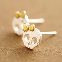 Wholesale Skull Bow Studs - Latest design punk skull jewelry earring 925 sterling silver funny skull Gold-Color bow-knot girls personalized stud earring