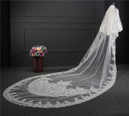 Wholesale Long Red Cathedral Wedding Veils - 2017 Custom Made Wedding Veil Real Picture Stunning Two Layers White Ivory 3 Meter Long Lace Applique Tulle Cathedral Bridal Veils