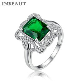 Wholesale Stone Cushions - INBEAUT Women Vintage 18KPG White Gold Filled Silver Color Cushion Cut Big Green Stone Ring Female Twist Cubic Zircon Queen Ring