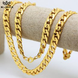 """Wholesale Real Solid 24k Gold - 2017 10mm  30""""inch Real 24K Yellow Gold Plated Solid Cuban Curb Chain Mens Necklace Hip Hop Jewelry Star Style"""