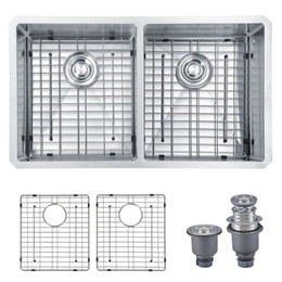 """Wholesale Undermount Stainless Kitchen Sinks - [From USA] Handmade 33""""x19""""x10"""" 16-Ga Stainless Steel Undermount 50 50 Equal Double Bowl Modern Kitchen Sink Deep Bowl With Bottom Grids"""