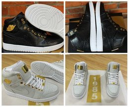 Wholesale Dan Black - 2016 New Retro 1 I Pinnacle Retros 1 Mens Basketball Shoes Black White Gold Sneakers Dan 1 Retro Shoes Sports Sneakers Size 8-12