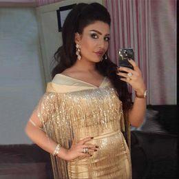 Wholesale Straight Chiffon Red Dresses - yousef aljasmi Dubai Handmade Gold Beaded Straight Long Prom Dresses 2017 Arab Custom Tassel Glitter Evening Party dress
