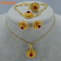 Wholesale Ethiopian Earrings - Anniyo Ethiopian Wedding Jewelry Set Pendant Necklace Earrings Ring Bracelet Women Gold Color Eritrea Gift