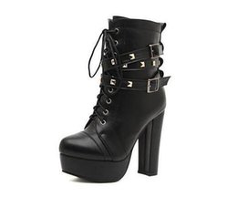 Wholesale Cool Party Dresses - .Newest Rivets Black Leather Motorcycle Boots For Women High Platform Thick Heel Ankle Boots Stylish Cool Shoes nvx13