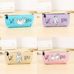 Wholesale Cat Storage Bag - Wholesale- Kawaii Cat Pencil Case Cartoon Pen Bag for kids gift School Storage bag Stationery pouch office school supplies escolar