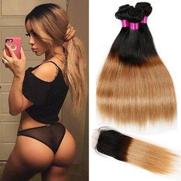 Wholesale 1b 27 Human Hair Weave - Peruvian Indian Malaysian Brazilian Virgin Straight Hair With Closure Ombre Hair Bundles With Closure 1B 27 Blonde Human Hair