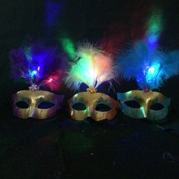 Wholesale Half Age - Women Feather Mask Mardi Gras Masquerade Mask Party Feather LED Masks Assorted Color One Size Fit Most Adult and +14 Age Child