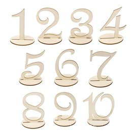 Wholesale Number Place Cards - Newest Decoration Mariage 1-10 Wooden Table Numbers with Holder Base for Wedding Home Decoration Place Card Holder JM0318