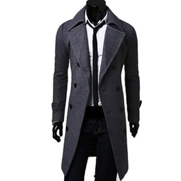 Discount mens stylish winter trench coat - Wholesale- 2017 Casual Winter Mens Slim Stylish Trench Coat Double Breasted Long Jacket Thick Wool & Blends Plus Size 4XL Overcoat Tops