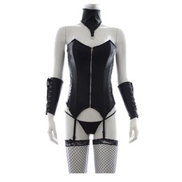 Wholesale Halloween Bondage Costume - Halloween Sex Costumes for Woman Sexy Bondage Lingerie Costumes Fetish Corset With Neck Cuff & Handcuffs Sex Toys For Woman