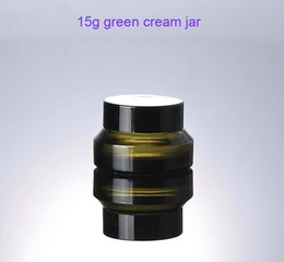 Wholesale Glass Cosmetic Jars Lids - Free shipping - 300pcs lot 15g green glass cream jar with lids ,15ml cream bottle,15g glass container, cosmetic packaging