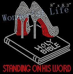 Wholesale Text Design Free - Free shipping Standing on his word (Red Text) Holy Bible Heels Stiletto Rhinestone Transfer Design for clothing