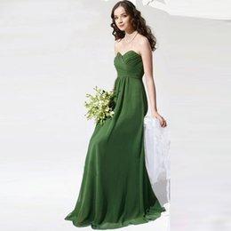 Wholesale Jade Green Wedding Dresses - 2017 Elegant Long Jade Green Bridesmaids Dresses Sweetheart Strapless Pleated Chiffon Cheap Wedding Party Dress Gowns BN142
