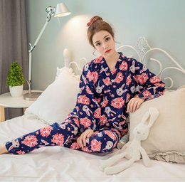 Wholesale Japanese Women Cotton Tops - Wholesale- Japanese Cherry Cute Rabbit Pajamas Set Kimono Suit Tracksuit Cotton Gauze Bathrobe Top Pants Women Sleepwear
